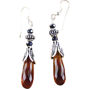 Rich Amber Quartz and Sterling Earrings