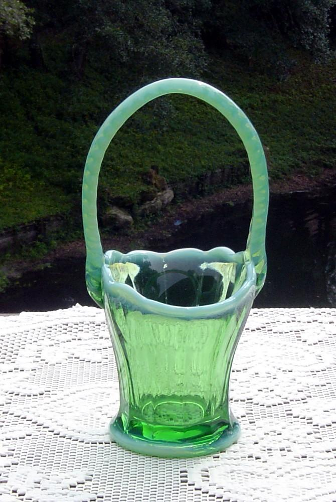 Pretty Green Opalescent Handled Basket