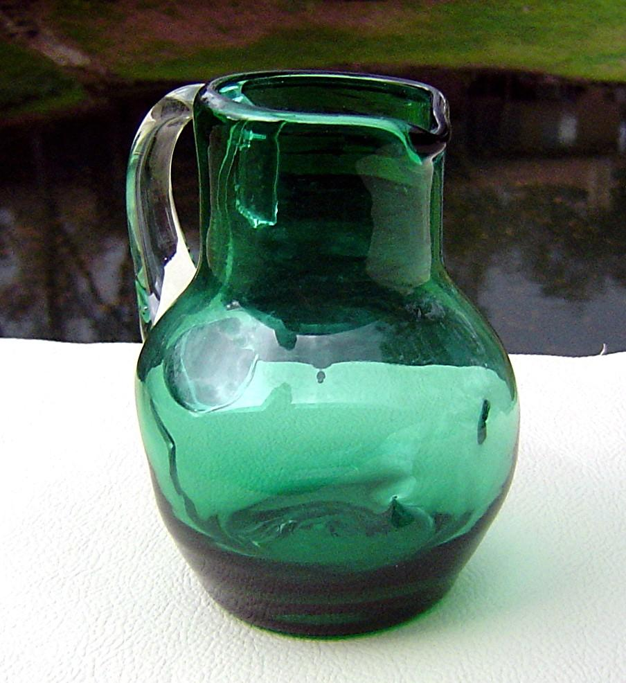 Emerald Green Dimpled Miniature Pitcher ca 1960's