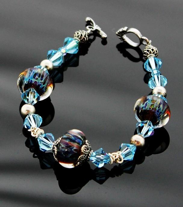 Ocean Mist Lampwork Beaded Bracelet