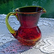 Miniature Amberina Crackle Glass Pitcher ca 1960's