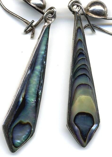 Vintage Abalone and Sterling Earrings