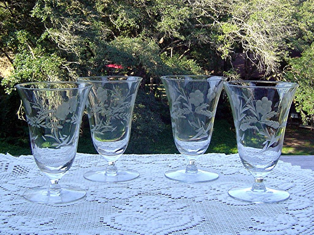 Lovely Gray Etched Juice Glasses