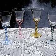 Elegant Twisted Stem Sherry or Liquor Cocktail Glasses
