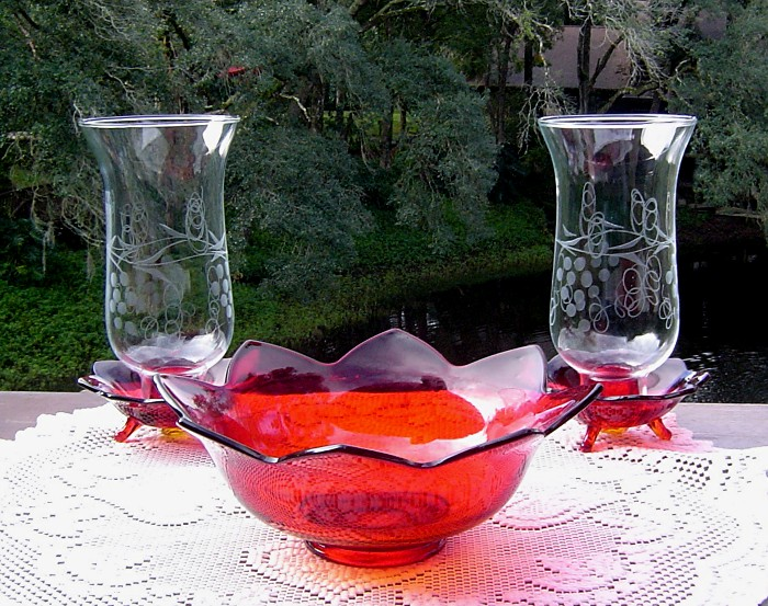 Fenton Ruby Red Flower Console Set ca 1932-36