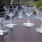 Cut Crystal Wine Glasses in Windover Pattern