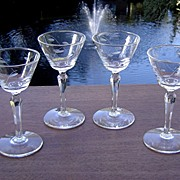 Vintage Gray Cut Wine Glasses
