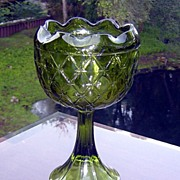 Indiana Glass Green Du-ette Footed Compote