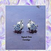 Blue Aurora Borealis Earrings by Coro