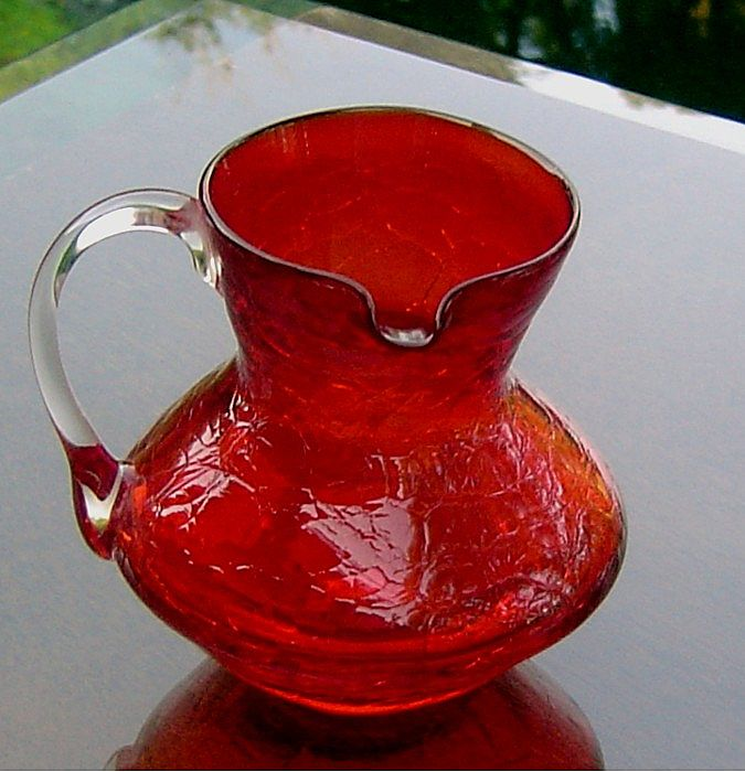 "Kanawha Red Crackle Glass Pitcher with a ""Side Spout"""