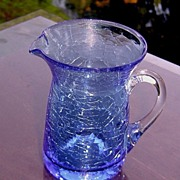 Pilgrim Miniature Blue Crackle Glass Pitcher ca 1949-1969