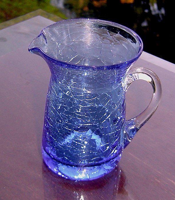 Pilgrim Miniature Blue Crackle Glass Pitcher ca 1949-1969