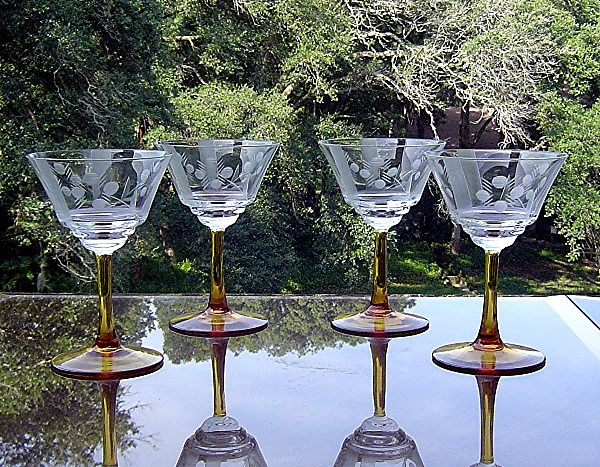 Amber Stem Needle Etched Sherry or Liquor Cocktail Glasses