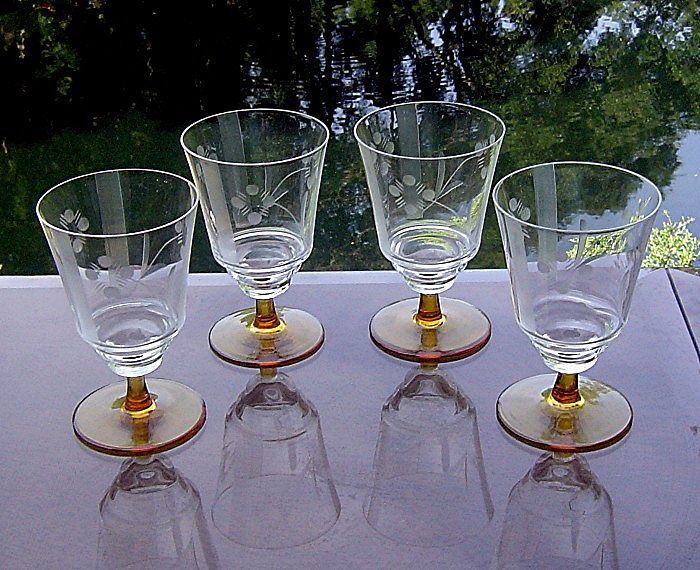 Amber Stem Needle Etched Juice Glasses