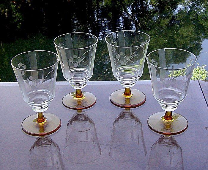 Amber Stem Needle Etched Juice Glasses
