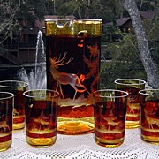 Muhlhaus Amber Cut to Clear Bar Set 1920's