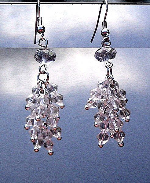 Extra Long Clear Crystal Earrings