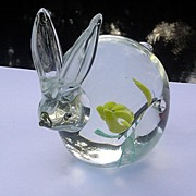 Hand Blown Bunny Paperweight