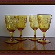 EAPG Amber Wine Goblets in Queen Pattern by Mckee ca 1894