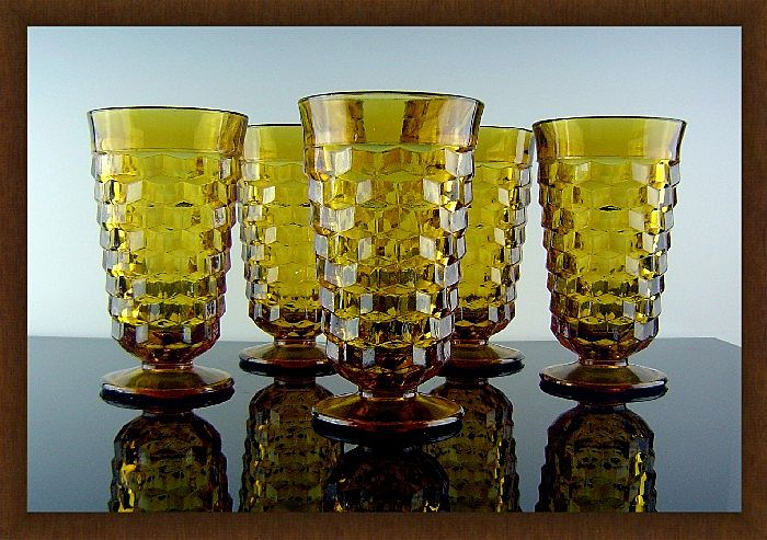 Amber Tumblers in Whitehall Pattern ca 1960's