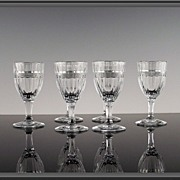 6 Heisey Banded Flute Cordials Glasses
