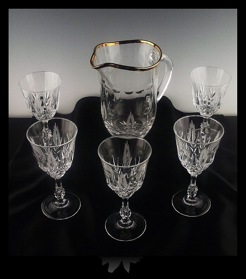 Cut Crystal Goblets and Pitcher by Royal Crystal Rock in Mila Pattern