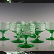 Green Depression Low Sherbet Goblets by Tiffin/Franciscan ca 1930's