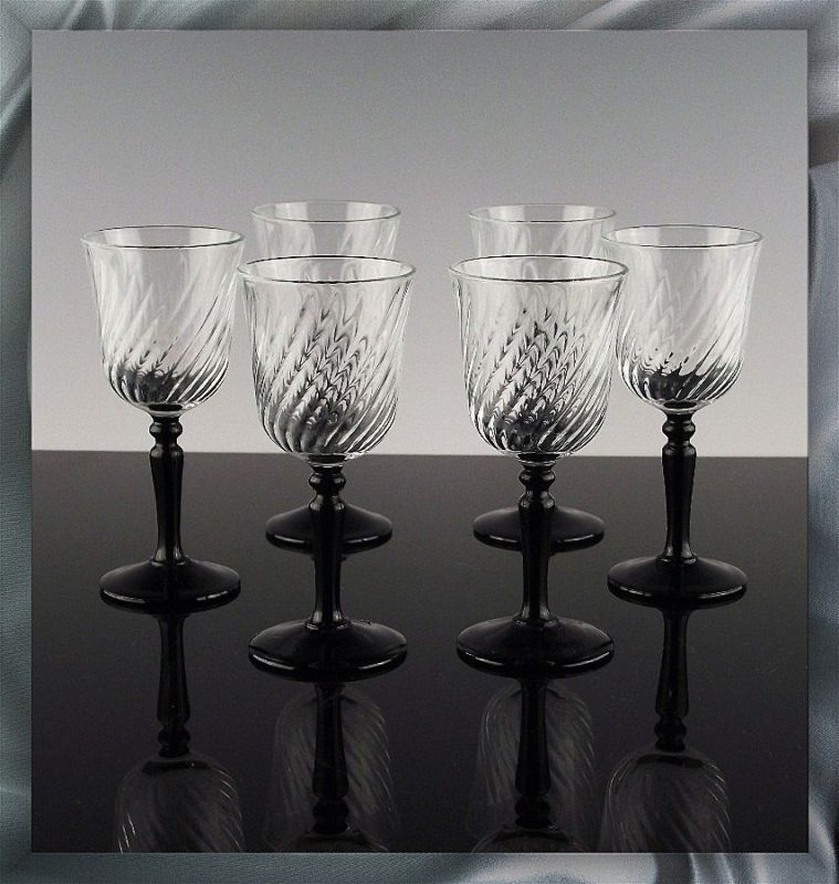 Set of 6 Cordials in Onyx Pattern