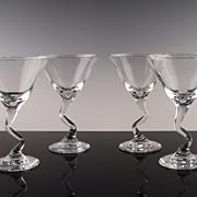 """Fun Filled """"Z"""" Stem Martini Glasses"""