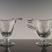 Heisey Orchid Cream and Sugar Set ca 1940-1957