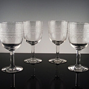 """Set of Heisey """"Tatting"""" Water/Large Wine Goblets ca 1917-1928"""