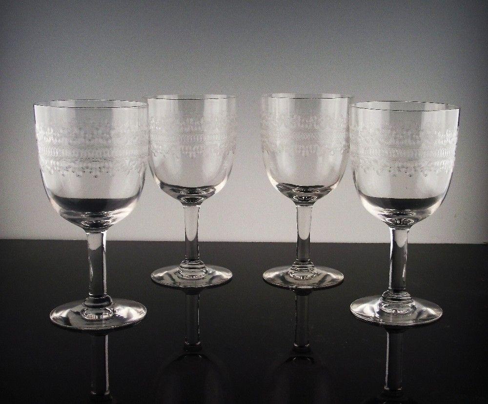 "Set of Heisey ""Tatting"" Water/Large Wine Goblets ca 1917-1928"