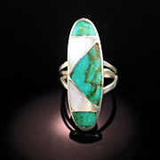 Sterling Silver, Turquoise and Mother of Pearl Ring ca 1970's