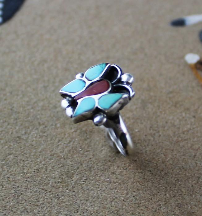 Zuni Inlaid Butterfly Ring ca 1970's