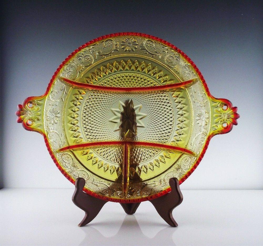 Amberina Relish Platter ca 1972