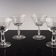 Elegant Low Sherbet Glasses in Heather by Fostoria ca 1949-71