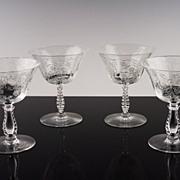 Elegant Low Sherbet Glasses in Heather by Fostoria ca 1949-71