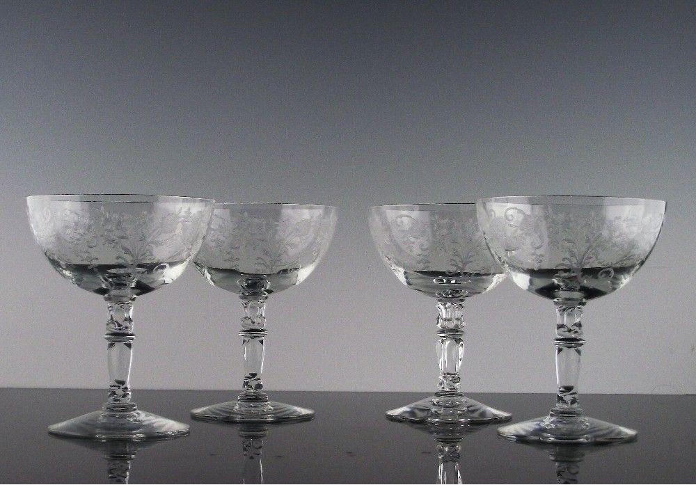 Set of 4 Fostoria's Buttercup Low Sherbet ca 1941-1959