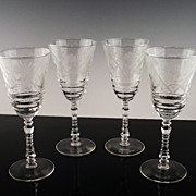 Libbey Rock Sharpe Water/Large Wine Glasses ca 1940's