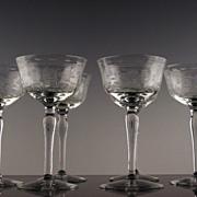 Rose Etched Liquor Cocktail Glasses by McBride Crystal ca 1930's