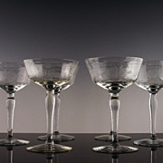 Rose Etched Champagne/Champagne Cocktail Glasses by McBride Crystal ca 1930's