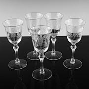 June Night Claret Wine Glasses by Tiffin ca 1941-1966