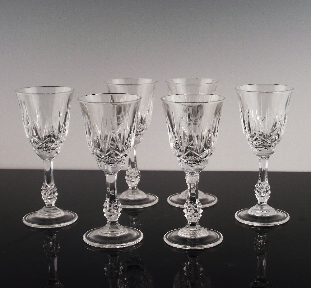 Set of 6 Crystal Cordials in Capri Pattern