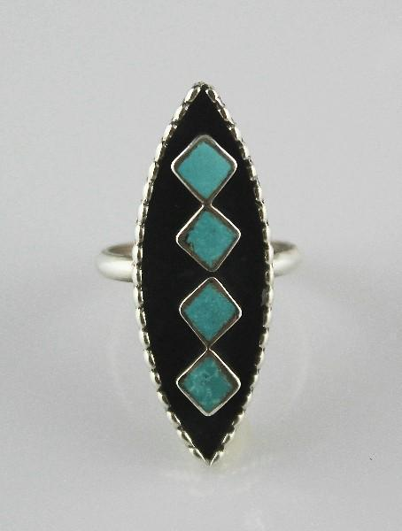 Vintage Zuni Inlay Ring ca 1970's