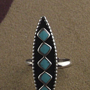 Zuni Sterling and Turquoise Ring ca 1970's