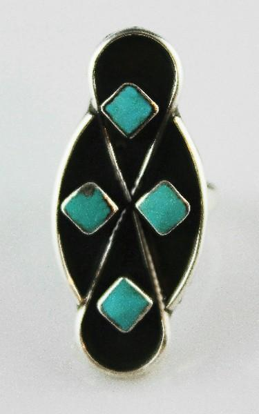 Zuni Turquoise and Sterling Infinity Ring ca 1970's