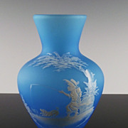 Westmoreland 78-1 Vase in Blue Mist w Mary Gregory Design, Boy Fishing, 7""