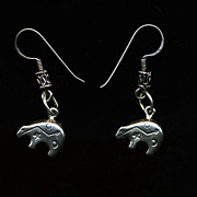 Sterling Stamped Bear Earrings