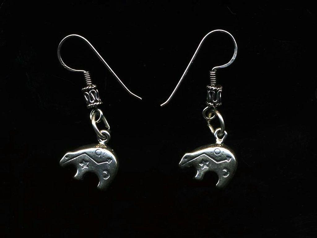 Sterling Stamped Bear Earrings