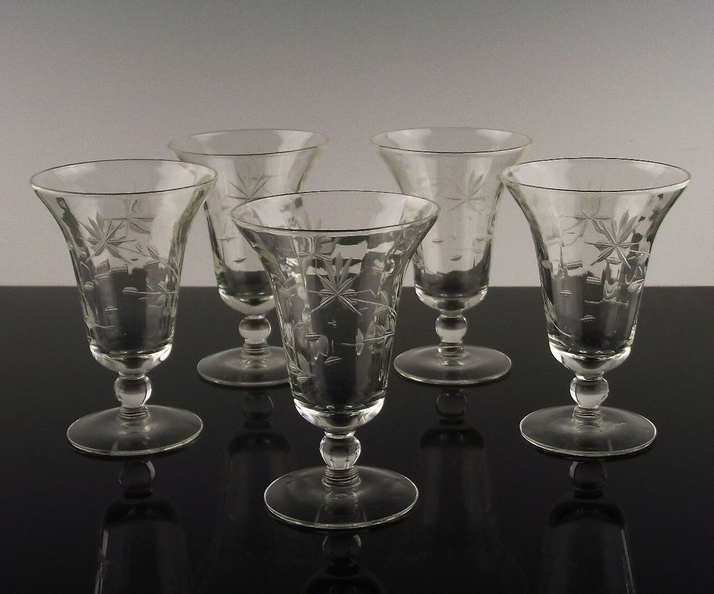 Gray Cut Floral Juice Glasses
